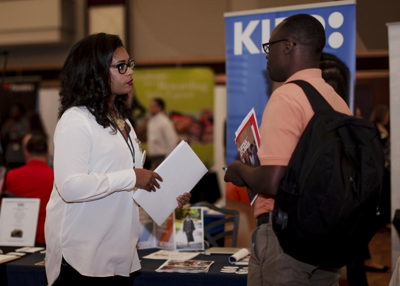 Student and employer at the Career and Internship Fair